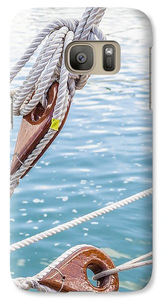 Galaxy Case featuring the photograph Sailboat Deadeyes 1 by Leigh Anne Meeks
