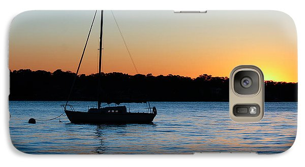 Galaxy Case featuring the photograph Sailboat Moored At Sunset by Ann Murphy