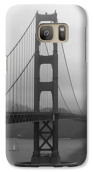 Galaxy Case featuring the photograph Sailboat Passing Under Golden Gate Bridge by Connie Fox