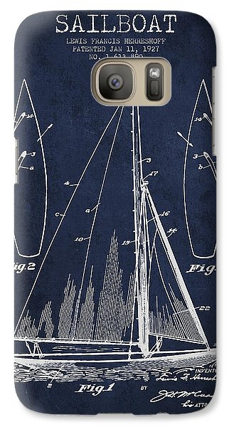 Boat Galaxy S7 Case - Sailboat Patent Drawing From 1927 by Aged Pixel