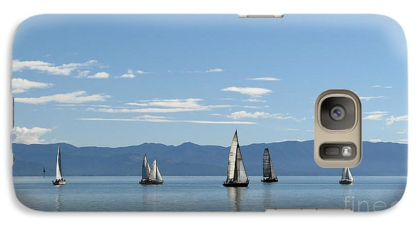 Galaxy Case featuring the photograph Sailboats In Blue by Jola Martysz