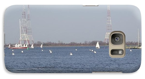 Galaxy Case featuring the photograph Sailboats With Chesapeake Bay Bridge Beyond by Christina Verdgeline