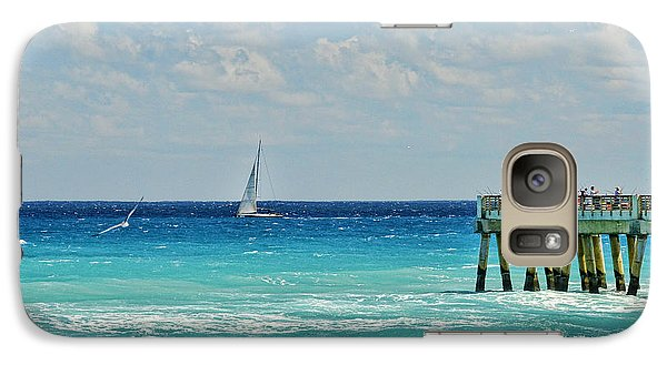 Galaxy Case featuring the photograph Sailing By The Pier by Don Durfee