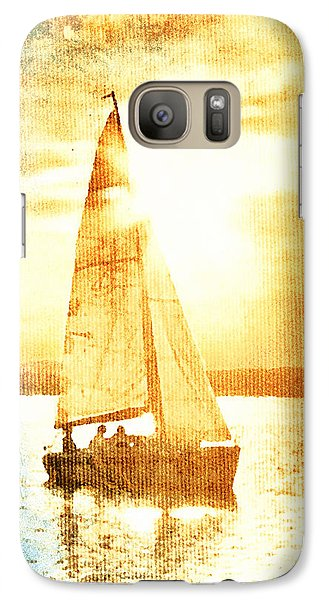 Galaxy Case featuring the digital art Sailing In Orange by Andrea Barbieri
