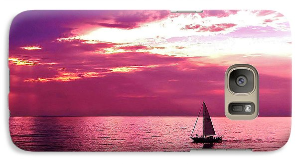 Galaxy Case featuring the photograph Sailing Into The Setting Sun by Kathi Mirto