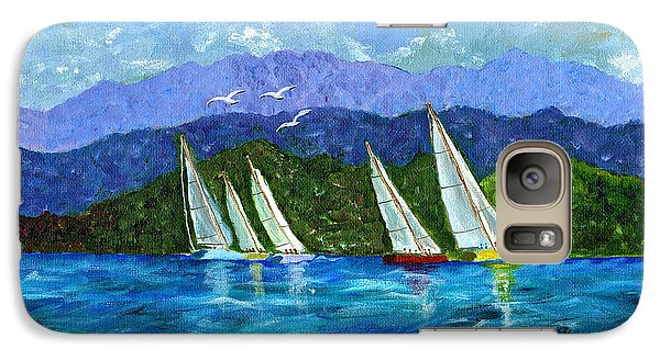 Galaxy Case featuring the painting Sailing by Laura Forde