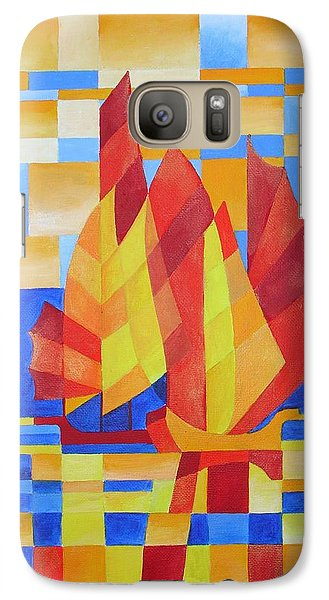 Galaxy Case featuring the painting Sailing On The Seven Seas So Blue by Tracey Harrington-Simpson