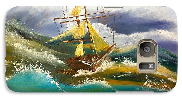 Galaxy Case featuring the painting Sailing Ship In A Storm by Pamela  Meredith