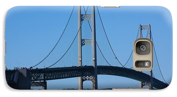 Galaxy Case featuring the photograph Sailing Under Mighty Mac by Bill Woodstock