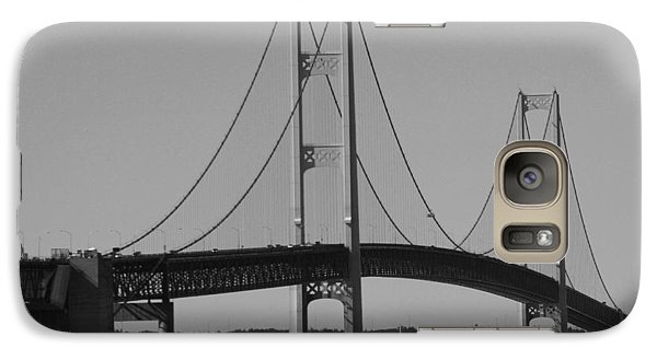 Galaxy Case featuring the photograph Sailing Under Mighty Mac Black And White by Bill Woodstock