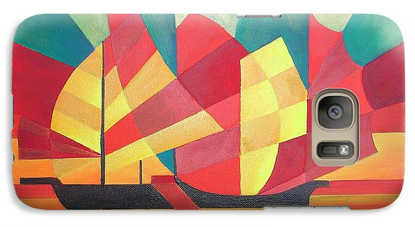 Galaxy Case featuring the painting Sails And Ocean Skies by Tracey Harrington-Simpson