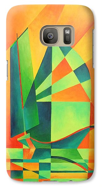 Galaxy Case featuring the painting Sails At Sunrise by Tracey Harrington-Simpson