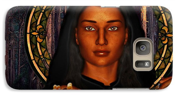 Galaxy Case featuring the painting Saint Tekakwitha The Lily Of The Mohawks by Suzanne Silvir