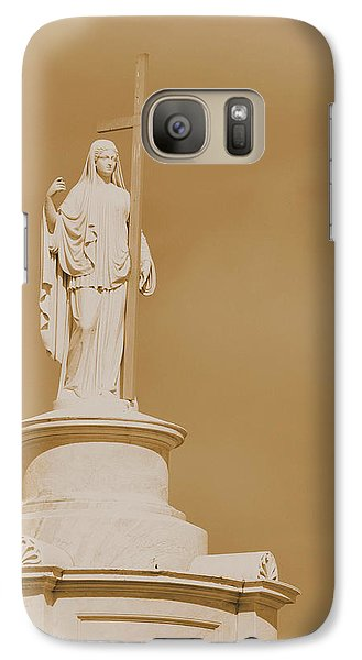Galaxy Case featuring the photograph Saint With A Cross by Nadalyn Larsen