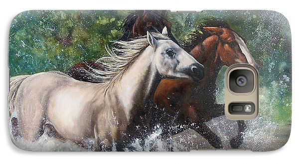 Galaxy Case featuring the painting Salt River Horseplay by Karen Kennedy Chatham