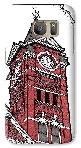 Galaxy Case featuring the drawing Samford Hall Clock Tower by Calvin Durham