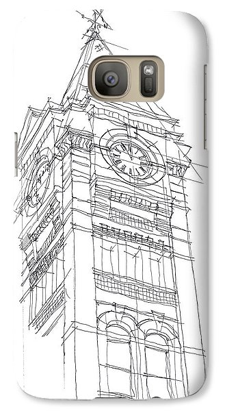 Galaxy Case featuring the drawing Samford Hall Sketch by Calvin Durham