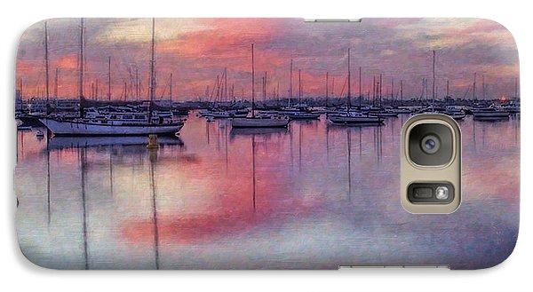 Galaxy Case featuring the digital art San Diego - Sailboats At Sunrise by Lianne Schneider