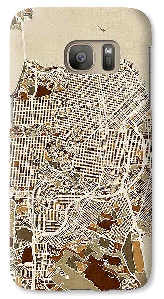 San Francisco City Street Map Galaxy Case by Michael Tompsett