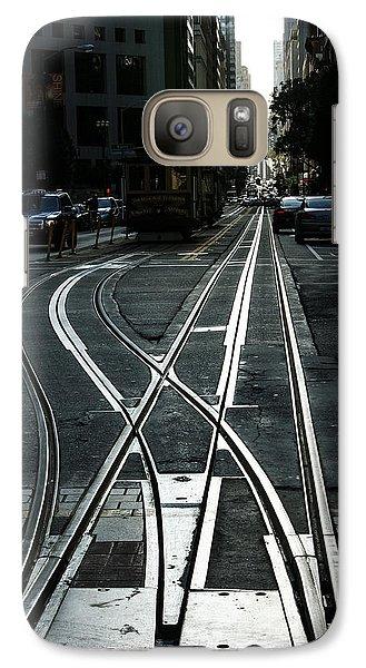 Galaxy Case featuring the photograph San Francisco Silver Cable Car Tracks by Georgia Mizuleva