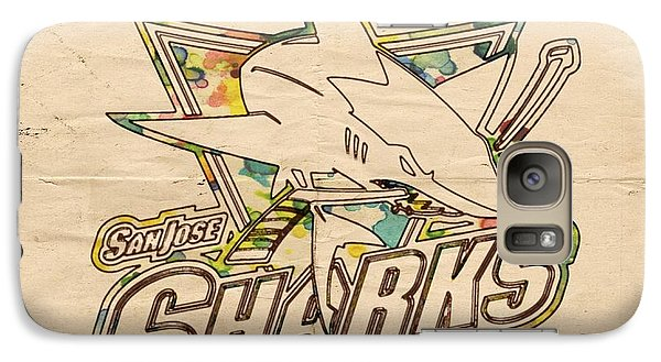 San Jose Sharks Vintage Poster Galaxy Case by Florian Rodarte