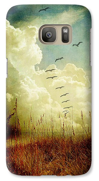Galaxy Case featuring the photograph Sand Dunes And Pelicans by Linda Olsen