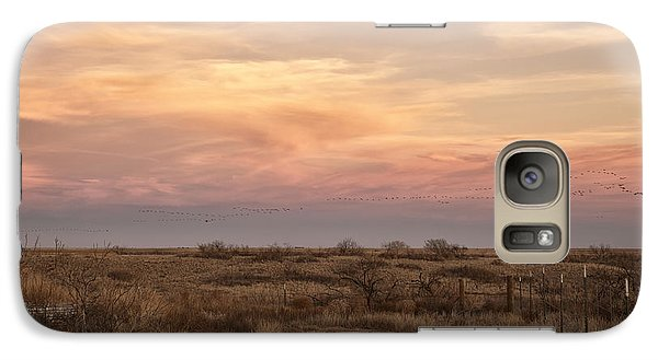 Sandhill Cranes At Sunset Galaxy S7 Case by Melany Sarafis