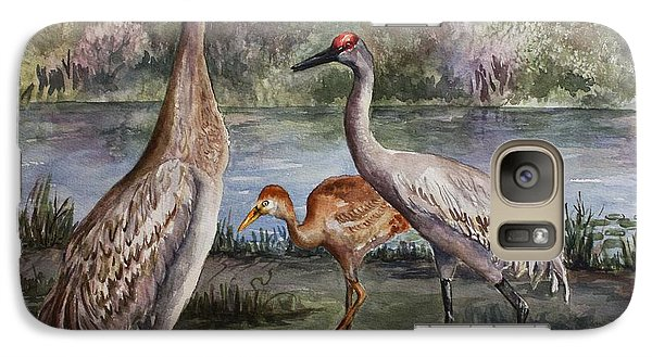 Galaxy Case featuring the painting Sandhill Cranes On Alert by Roxanne Tobaison