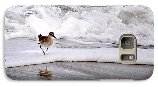 Galaxy Case featuring the photograph Sandpiper In The Surf by AJ  Schibig
