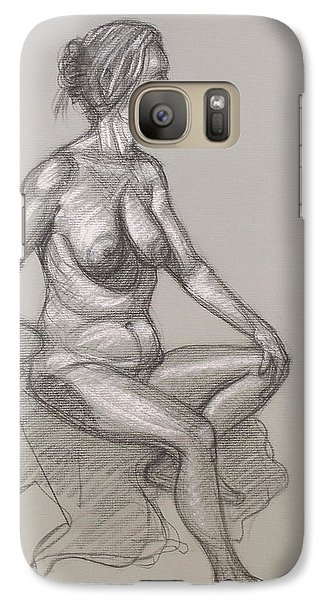 Galaxy Case featuring the drawing Sandra Seated #3 by Donelli  DiMaria