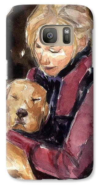 Galaxy Case featuring the painting Sandy Grace And Me by Molly Poole