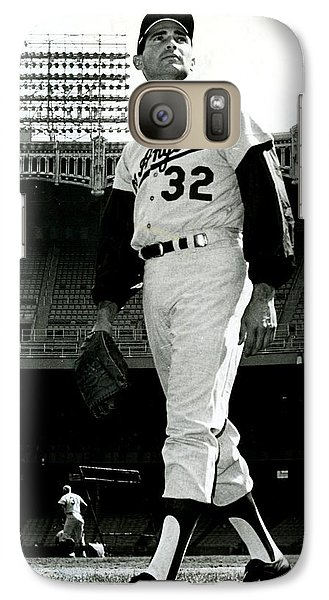 Professional Baseball Teams Galaxy S7 Case - Sandy Koufax Vintage Baseball Poster by Gianfranco Weiss