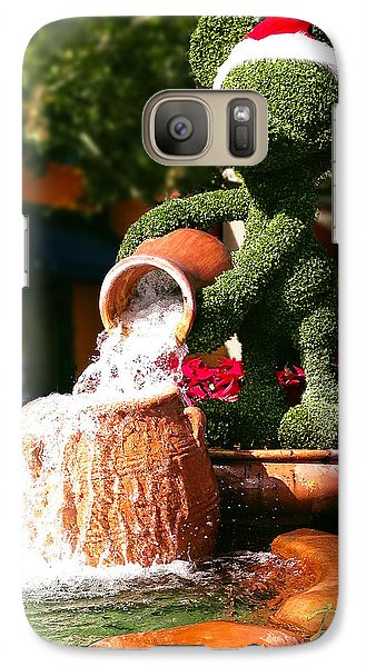 Galaxy Case featuring the photograph Santa Mickey Topiary Fountain by Doug Kreuger