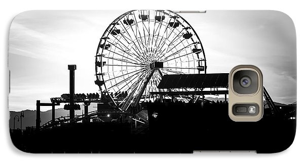 Santa Monica Ferris Wheel Black And White Photo Galaxy S7 Case by Paul Velgos