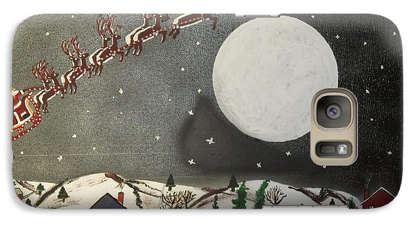Galaxy Case featuring the painting Santa Over The Moon by Jeffrey Koss