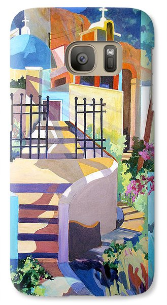 Galaxy Case featuring the painting Santorini Cliff Hangers by Rae Andrews
