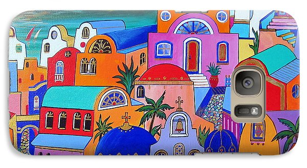 Galaxy Case featuring the painting Santorini Colors by Roberto Gagliardi