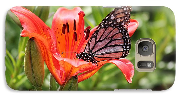 Galaxy Case featuring the photograph Saskatchewan Prairie Lily And Butterfly by Ryan Crouse