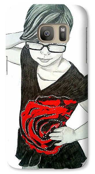 Galaxy Case featuring the drawing Sassy Izzy by Justin Moore