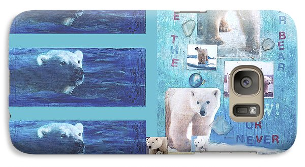 Galaxy Case featuring the mixed media Save The Polar Bear Now Or Never by Mary Ann  Leitch