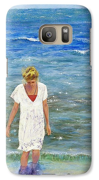 Galaxy Case featuring the painting Savoring The Sea by Margaret Bobb