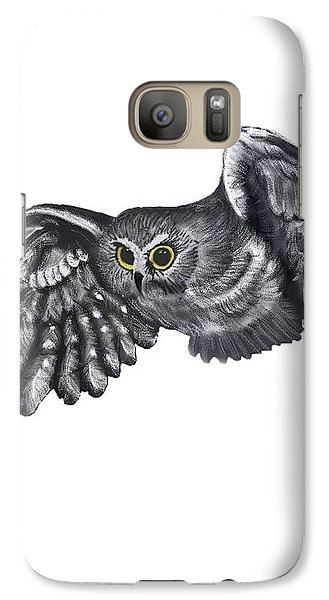 Galaxy Case featuring the drawing Saw-whet Owl by Terry Frederick