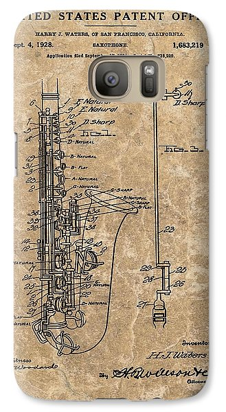 Saxophone Patent Design Illustration Galaxy S7 Case by Dan Sproul