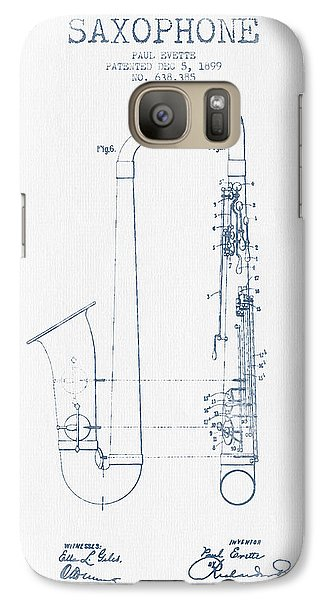 Saxophone Patent Drawing From 1899 - Blue Ink Galaxy S7 Case by Aged Pixel