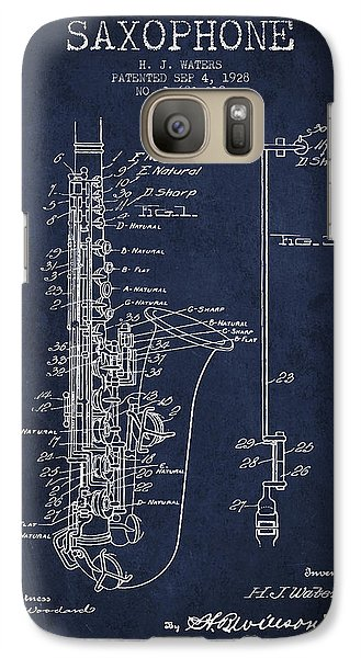 Saxophone Patent Drawing From 1928 Galaxy S7 Case by Aged Pixel