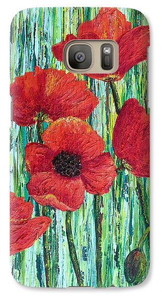 Galaxy Case featuring the painting Scarlet Blooms by Susan DeLain