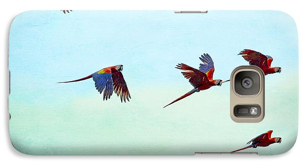 Galaxy Case featuring the painting Scarlet Mackaws Flying by Peggy Collins