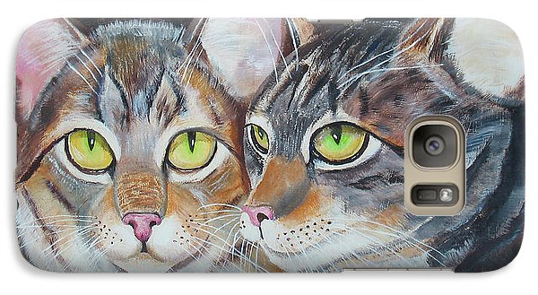 Galaxy Case featuring the painting Scheming Cats by Thomas J Herring