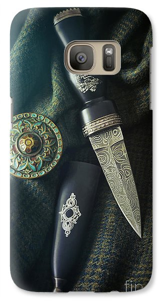 Galaxy Case featuring the photograph Scottish Dirk And Celtic Pin Brooch On Plaid by Sandra Cunningham