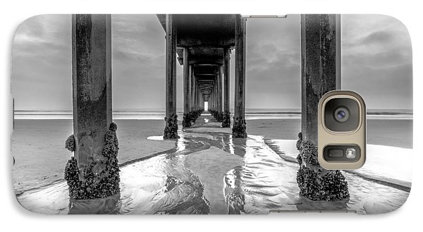 Galaxy Case featuring the photograph Scripps Pier Black And White by Robert  Aycock